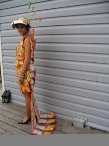 dress made from ramen noodles packages